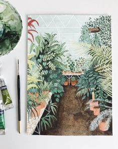 Finding Inspiration In Greenhouses - Katrina Sophia Garden Painting, Watercolors, Paper Art, Flora, Breezeway, Drawings, Illustration, Nature, Mood