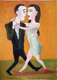 tango milonguero, pinturas de Diego Manuel Sale of a painting of the Argentine Tango. Venta de una pintura sobre el tango Argentino.