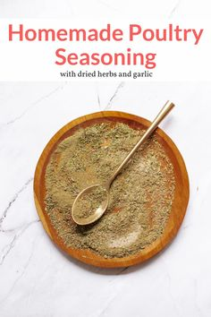 The most amazing homemade chicken seasoning blend with dried herbs, garlic, and pepper. Delicious on chicken, roasted vegetables, in soups, and more. #condiment #kidfriendly #makeahead #quickandeasy