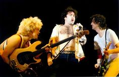 MAGE MUSIC: 1985 Tony Franklin, Paul Rodgers, Jimmy Page (Chris Slade not shown) of The Firm