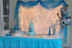 """Frozen"" themed cake table for a girl's birthday party. 2 Year Old Birthday Party Girl, Elsa Birthday Party, Olaf Party, Cake Table Birthday, Birthday Girl Pictures, Frozen Birthday Theme, Girls Birthday Party Themes, Frozen Theme Party, Princess Birthday"