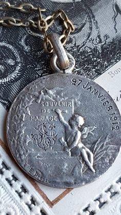 Small Antique French Sterling Silver Dropsy Art Nouveau Marriage Medal Wedding Gift Engraved January 27, 1912 Silver Bride Groom Vows by SacredBarcelona on Etsy