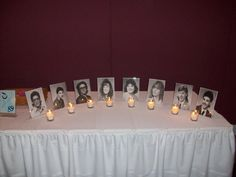 20 yr reunion photos memorial table