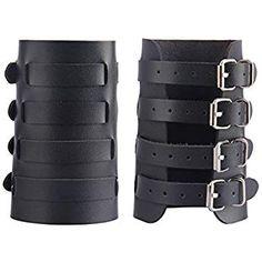Amazon.com: HZMAN Unisex Faux Black Leather Gauntlet Wristband Wide Bracer Arm Armor Cuff: Clothing Leather Cuffs, Real Leather, Black Leather, Gothic Pants, Leather Gauntlet, Arm Guard, Arm Armor, Leather Conditioner, Arms