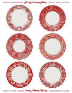 vintage plate labels (four colors)