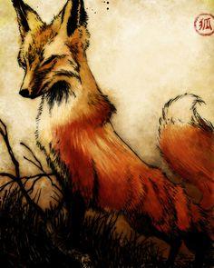 vulpes-latrans-lupus:Japanese fox art