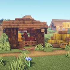 Give your horses a nice and cozy place to stay with this small horse stable design! The full tutorial is up on my YouTube channel, go check… Casa Medieval Minecraft, Minecraft Farm, Minecraft Houses Survival, Easy Minecraft Houses, Minecraft Houses Blueprints, Minecraft Plans, Minecraft House Designs, Minecraft Construction, Amazing Minecraft