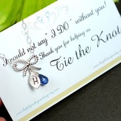 Bridesmaid jewelry , silver tie the knot, bow bracelet , Bridal Wedding,Bridesmaid gifts wedding bridal bridesmaid jewelry , knot card