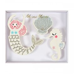Mermaid Brooches - Embroidered Badges - Meri Meri - The Original Party Bag Company Mermaid Party Food, Mermaid Party Decorations, Mermaid Parties, Mermaid Under The Sea, Under The Sea Party, Sweet Party, Party Fun, Party Time, Fabric Brooch