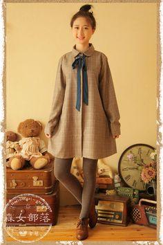 Sen female tribal 2015 spring new Japanese Sen female line skirt doll collar bottoming wild plaid long-sleeved dress - Taobao