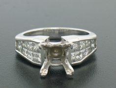 18K White Gold Semi Mount w/ Custom Invisible Set 1.60ct Princess VVS F Diamonds