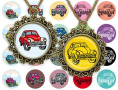 Vintage car Colored 1inch round Instant download Digital Collage Sheet Printable images for pendant cabochon by BaikalGraphics, $3.50