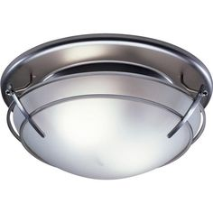 Broan Decorative Satin Nickel With Frosted Glass Shade 80 CFM Exhaust Bath  Fan With Light