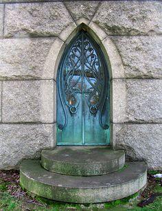 Art Nouveau crypt door, Druid Ridge Cemetery, Baltimore, Maryland.