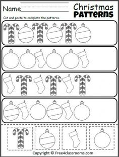 Free Christmas Cut Paste patterns worksheet.
