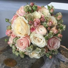 Beautiful ivory Four Seasons rose in a bouquet made by Berga Floristen Bridesmaid Flowers, Bride Bouquets, Bridal Flowers, Beautiful Flowers, Beautiful Flower Arrangements, Floral Arrangements, Dusty Pink Weddings, Flower Girl Bouquet, Deco Floral
