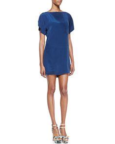 T7QNM Milly Short-Sleeve Silk Dress