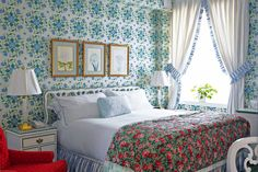pattern play with wallpaper and bedding | The Greenbrier | Anthology Mag