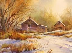 Fresh Snow Watercolor Painting