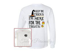 Items similar to Monogram Halloween Tee - Monogrammed T-Shirt - Halloween Tee - Long Sleeve Monogrammed T Shirt - Long Sleeved Tee - Monogram Halloween Shirt on Etsy Monogram Clothing, Heat Press, Heat Transfer Vinyl, Commercial, How To Apply, Trending Outfits, Graphic Sweatshirt, Treats, Halloween