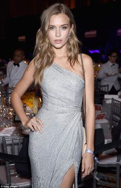 She shines: Model Josephine Skriver looked stunning at the amFAR gala in New York Wednesda...