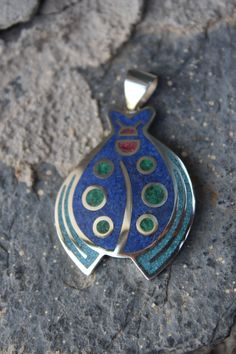 Silver Ladybug Pendant with lapis&turquoise&malachite& coral mosaic worked.
