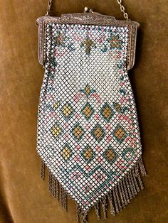 1920s art deco enamel CHAINMAILLE PURSE metal mesh collectible. $125.00, via Etsy.