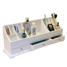 This cosmetic organizer is designed to provide maximum storage space. The center is easily personalized with drawers and an attractive curved shelf compartment design on top.