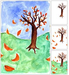 Art Projects for Kids: Fall Tree with Blowing Leaves