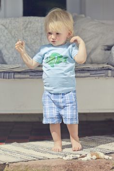 Simple danish designed outfit for boys T-Shirt Fish SS  #WheatCanada #kidsclothes