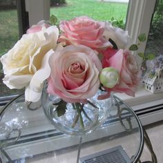 Silk flower white and pink rose arrangement