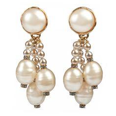CHANEL Multi Strand Pearl  Dangly Earrings 1990s