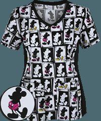 Cherokee Tooniforms Electric Mickey Print Scrub Top