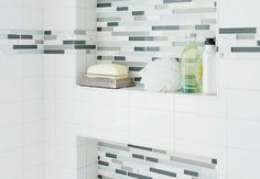 white with red accent subway tiles bathrooms - Google Search