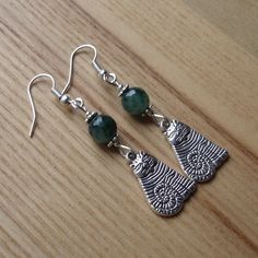Green Striped Cheshire Cat Charm Earrings - Gift for Her £4.00