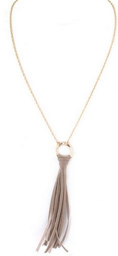 Gray Skies Leather Tassel Necklace – Bungalow20