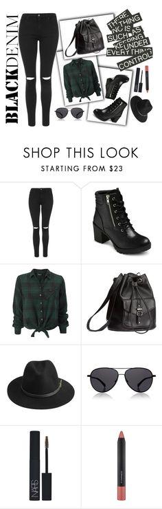 """Black denim look"" by natasa-topalovic ❤ liked on Polyvore featuring Topshop, EASTON, H&M, BeckSöndergaard, The Row, NARS Cosmetics, MAC Cosmetics, women's clothing, women's fashion and women"