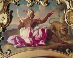 one of Claudio Francesco Beaumont's oil on canvas overdoor panels in the Palazzo Reale in Torino, this one an Allegory of Africa (c. 1730)