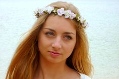 Floral crown Wedding Wedding Crown white lilac by BlackSwanFeather