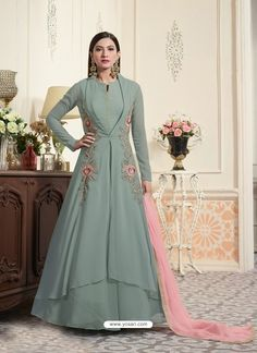 Buy Graceful Green Partywear Designer Embroidered Georgette Anarkali Suit at Get latest Anarkalis for womens at Peachmode. Anarkali Gown, Lehenga, Indian Dresses, Indian Outfits, Eid Dresses, Indian Clothes, Latest Anarkali Suits, Gown Suit, Designer Anarkali