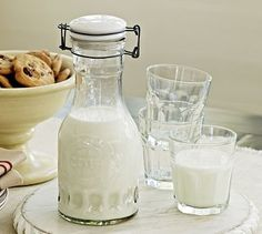 Glass Milk Carafe #potterybarn...Homemade Almond Milk container
