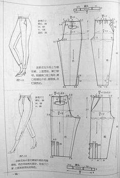 Sewing your own pantsI hope u understand it :D Dress Sewing Patterns, Sewing Patterns Free, Clothing Patterns, Sewing Tutorials, Free Pattern, Sewing Pants, Sewing Clothes, Modelista, Pattern Cutting