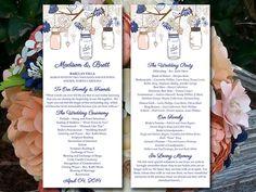 Mason Jars Wedding Program Template - Navy Soft Coral Champagne Wedding Program Rustic Ceremony Program Download - DIY Wedding Template by PaintTheDayDesigns on Etsy
