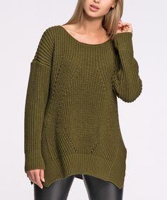Look at this #zulilyfind! Makadamia Khaki Split-Hem Sidetail Sweater by Makadamia #zulilyfinds