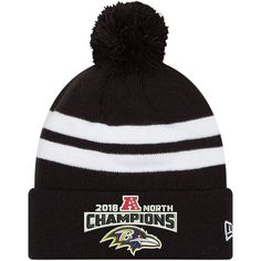 049ccc52ae440 Men s Baltimore Ravens New Era Black 2018 AFC North Division Champions  Cuffed Pom Knit Hat