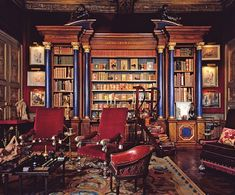 library by Georges Geffroy circa 1948 for Baron Alexis de Rede in the Hotel Lambert