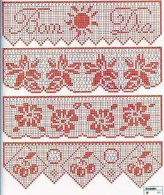 Crocheted motif no. Filet Crochet, Crochet Lace Edging, C2c Crochet, Crochet Borders, Crochet Chart, Thread Crochet, Crochet Doilies, Crochet Flowers, Crochet Stitches