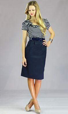 MaryAnn Dress in Navy Grey