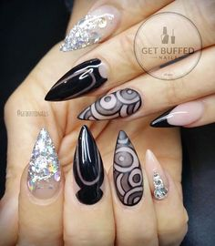 Black and Silver Glitter Negative Space Stiletto Nails