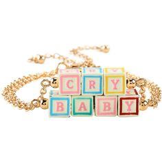 Hot Topic Melanie Martinez Cry Baby Blocks Bracelet Set (25 BRL) ❤ liked on Polyvore featuring jewelry, bracelets, accessories, melanie martinez, music, multi, gold tone jewelry, hot topic, chain jewelry and hot topic jewelry